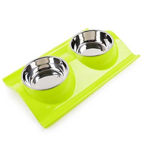 Vealind ausschüttsicher &, rutschhemmenden Pet Dog Cat erhöhte Feeder Schüssel mit Doppel Edelstahl Schalen (Feeder-schalen Dog)
