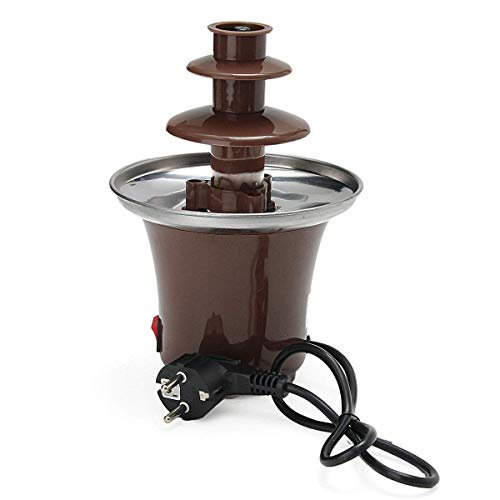 3 Ebenen Schokoladenbrunnen Maschine, Schokoladenfondue Brunnen Mini Hot Chocolate Fondue Pot Elektrische Schmelzmaschine KapazitäT 1,5-2 Pfund Braun