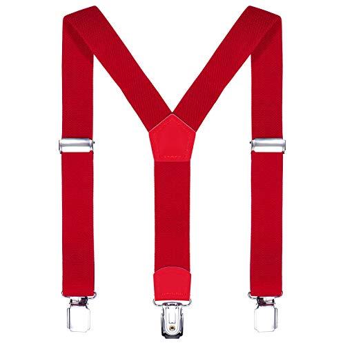 DonDon Kinder Hosenträger rot 2 cm schmal längenverstellbar für eine Körpergröße von 80 cm bis 110 cm bzw. 1-5 Jahre