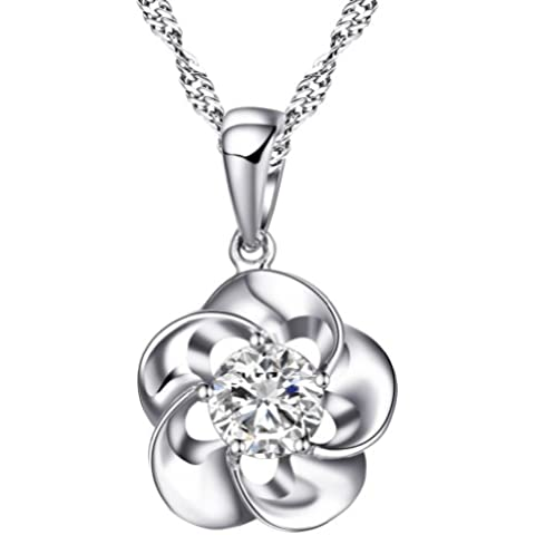 Chaomingzhen Gioielli Argento Sterling 925 bianco Zirconia Cubica fiore Collane con Pendente Donna Catena 18
