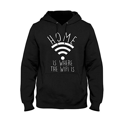 Home is Where The WiFi is Mens Ladies Unisex Internet Fashion Slogan Hoodie XXX-Large