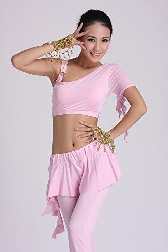 Danza Outfits Dancewear Danza del ventre Costume Set Tribal Milk Silk reggiseno +Lotus Gonna pantaloni Pink