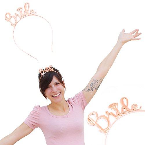 Oblique Unique® Haarreifen Bride JGA Junggesellinnenabschied Hochzeit Rose Gold