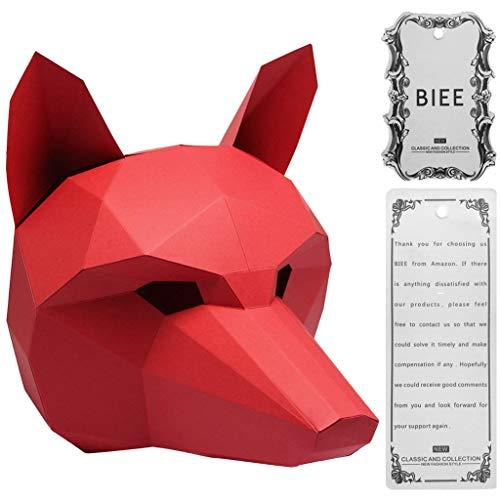(BIEE DIY 3D Papier Maske Tierkopf Formen Halloween Party Kostüm Cosplay Gesichts Papier-Craft Kit)