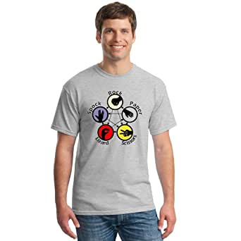 Small Heather grey t shirt with the classic rock paper scissors design
