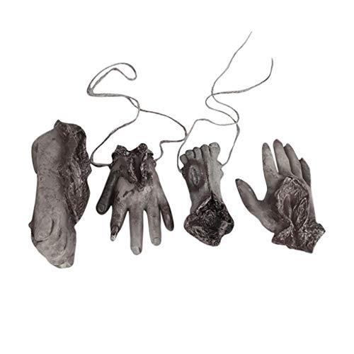 vijTIAN Halloween Horror Trick Toy Gruselige Requisite Latex Cut Hand Knochen Spielzeug Praktischer Witz Gummi künstliche gebrochene Hand gebrochene Füße schaffen eine gruselige - Iron Mann Kostüm Party Stadt