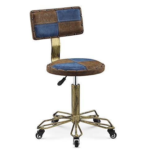 ZX- Retro-Drehhocker, Beauty-Rollstühle, Runder Drehbarer Stuhl Mit 5 Rollen, Vintage-Leder Mit Rückenlehne (Color : A2)