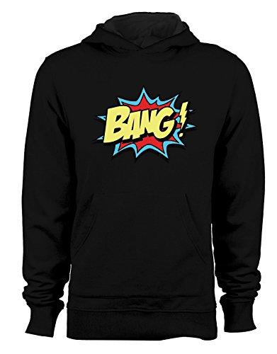 Felpa con cappuccio Bang - fumetti- cartoon- - Tutte le taglie Nero