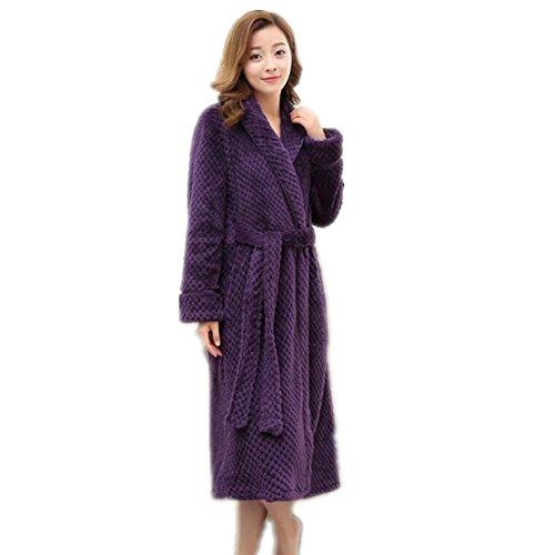 LIUDOU Caldo autunno inverno pigiama donna ispessita Coral Fleece accappatoio