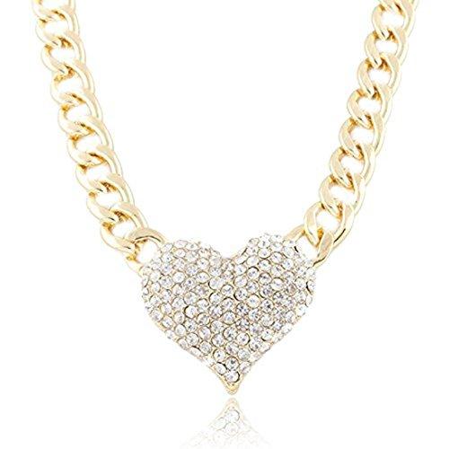 mingfa 3D Herz Anhänger Statement Halskette verstellbar LINK Kette Choker Charm Schmuck für Frauen Mädchen (Herzen Ringe Für Frauen Unter $5)