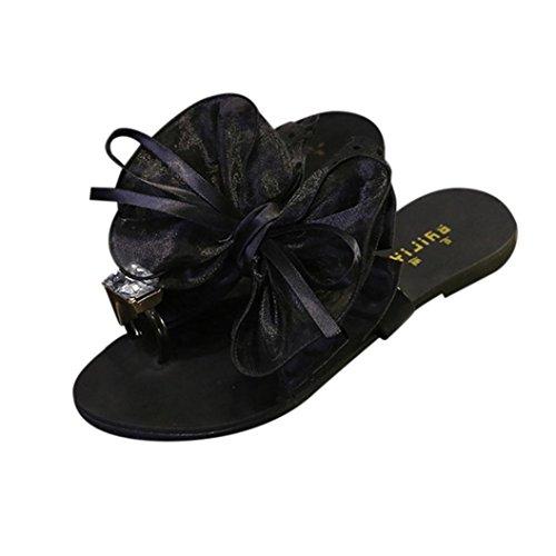 Ohq ciabatte infradito, scarpa estiva fitness sandalo tacco a punta piatta da donna con spillo pantofole spiaggia scarpe casual sandali piatti fiocco in di diamante (41, nero)