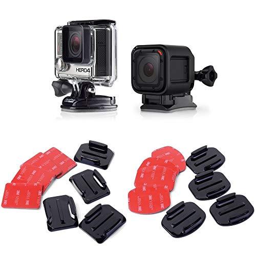 micros2u 16 Stück Helm 3M Klebepads Aufkleber flach gebogene Halterungen Zubehör-Kit. Kompatibel mit GoPro HERO Session 7 6 5 4 3+ 3 Action-Kamera