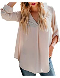 Mymyguoe Mujeres Camisas Diario sólido Manga Larga Suelta Cuello en V Tops Camisa Blusa túnica Informal Sudadera Outwear Blusa Camisetas para OtoñO Pull-Over Blusa Tops