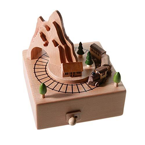 Chonor Innovative Szene aus Holz Spieluhr, Premier Spieluhr Handkurbel Reine Hand-klassischen Music Box Holz Handwerk Dekorationen Idee für Geburtstag Weihnachten - Gedächtniszug