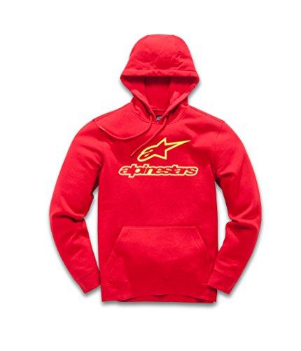 Alpinestars Herren Fleece Always Logo Pullover Hoodie Classic Fit Red/Yellow