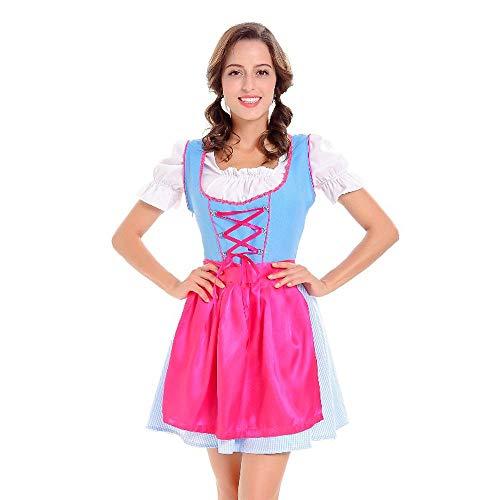 SuperSU 3 Stück Damen Dirndl Kleid Karneval Oktoberfest Cosplay Kostüme Bayerisches Bier Tavern Maid Dress Costumes Elegant rachtenkleid mit Stickerei Traditionelle Karneval Cosplay Kleid