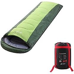 Semoo Saco de dormir impermeable, de 6-22ºC, 190T, encapuchado para adultos, con bolsa de compresión, Verde