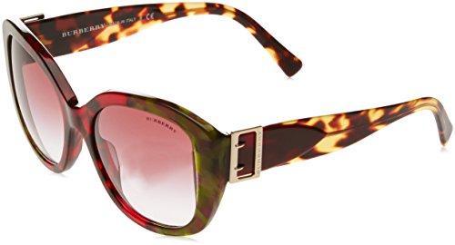 Burberry 0be4248 36388h 57, occhiali da sole donna, verde (havana bordeaux/green/violetgradient)