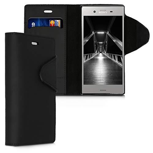 kalibri Sony Xperia XZ1 Compact Hülle - Leder Handyhülle für Sony Xperia XZ1 Compact - Handy Wallet Case Cover