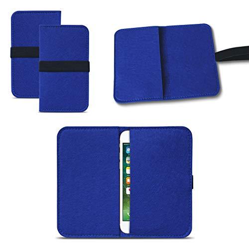 UC-Express Universal Smartphone Cover Tasche Handytasche Case Hülle Schutzhülle Sleeve Filztasche mit Kartenfach, Farbe:Blau, Smartphone:Allview P5 Lite