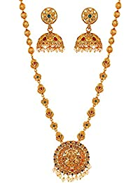 MEENAZ South Indian Temple Jewellery Gold Peacock Laxmi Traditional Pearl Jhumki Earrings Necklace Jewellery Sets for Women Girls -NL-409
