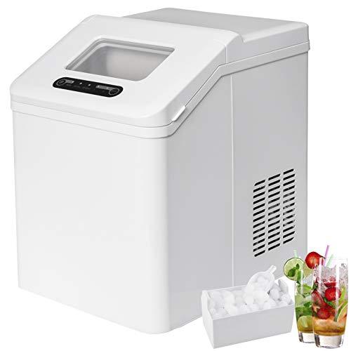 WOLTU EM02ws Eiswürfelmaschine Eismaschine Ice Maker Eiswürfelbereiter, 20kg 24h, 2 Eiswürfel-Größen, 2,5 Liter Wassertank, Selbstreinigungsmodus, 150 W, ABS, grau