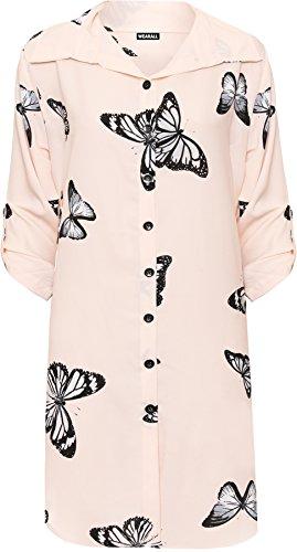 WEARALL Femmes Plus Papillon Imprimer Chemise Dames Bouton Collier Côté Fente Incurvé Ourlet Haut - 44-56 Nude