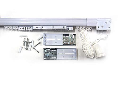 Bastone binario scorritenda estensibile per tenda, movimento a corda, in ferro bianco, varie misure (da 168 a 300 cm)