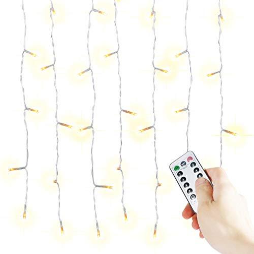 Lichterkettenvorhang 300 LEDs, 8 Modi 3m x 3m IP44 wasserdichte Sterne LED Lichterkett, Weihnachtsbeleuchtung / Schlafzimmer Dekoration / Party, Hochzeit etc.(Warmes Weiß)