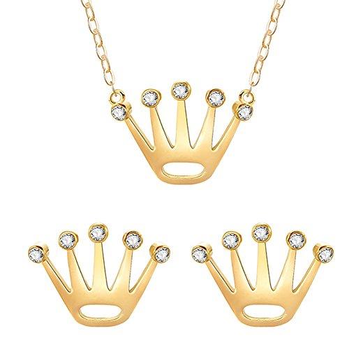 Bangle009die Neuesten Fashion Frauen Anhänger Krone glänzend Strass Ohrringe Halskette Set Schmuck Geschenk Goldfarben (Schmuck-display Royal Crown)