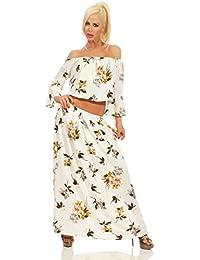 Fashion4Young 5260 Damen Maxikleid 2-teilig Bandeau Sommerkleid Bluse Rock Geblümt Maxi Kleid Dress