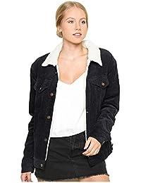 TOOGOO(R) Women's Vintage Casual Lambswool Jacket Coat Winter Warm Long Sleeve Corduroy Jacket Autumn Hairy Collar Female Overcoat(Black,M/US-8~10)