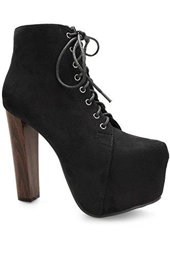 Alx Trend scarpe da donna Tronchetti scamosciati con lacci Kitty - Nero-38
