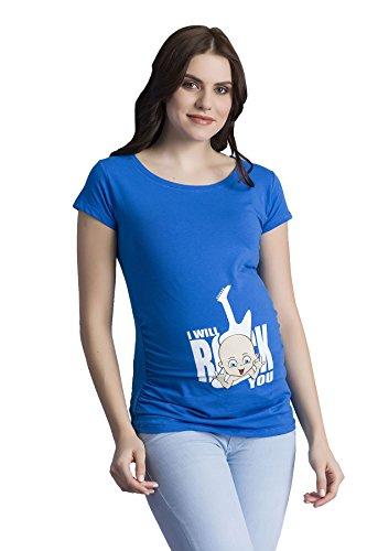 Verkauft von MamiMode I Will Rock You - Witzige Süße Umstandsmode T-Shirt mit Motiv Schwangerschaft, Kurzarm (Small, Dunkelblau)