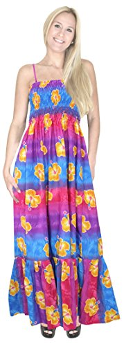 La Leela multicolor floreale stampato likre backless lungo smocked tubino blu