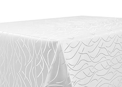 Tovaglia damascata con linee ondulate, non-stiro, rettangolare, ovale, rotonda, dimensioni e colore a scelta, poliestere, bianco, rettangolare 130 x 300 cm