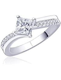 Diwali Gifts Peora Sterling Silver Rhodium Micro Pave CZ Forever Yours Ring (PR924W-6)
