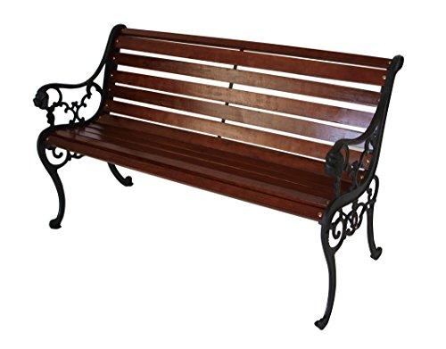 Gartenbank 2-Sitzer 130x61x72cm mahagonifarben Holz/Gusseisen
