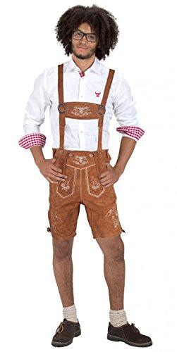 Almwerk Herren Trachten Lederhose kurz Platzhirsch, Farbe:Hellbraun;Lederhose Größe Herren:48