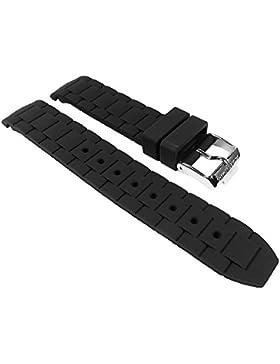 Jacques Lemans Rome Sports Ersatzband Uhrarmband Silikon schwarz 18mm 1-1623A 1-1745, 1-1587, 1-1571