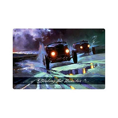 ABLERTRADE Metallschild, Motiv: Stealing The Thunder, Racing, Hot Rod Schilder, Vintage-Look, Reproduktion, 20,3 x 30,5 cm -