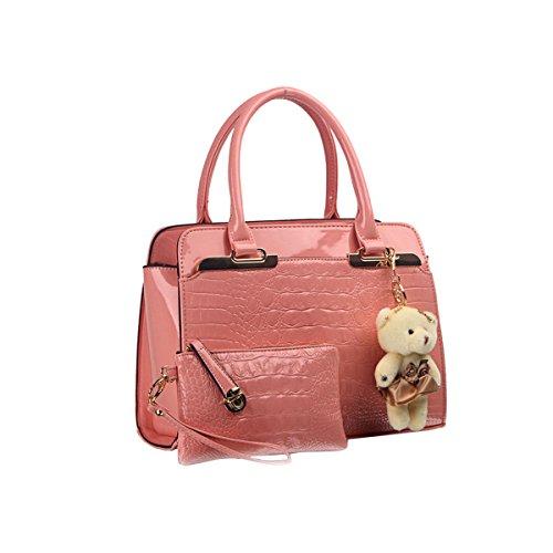 Emotionlin Signore Sacchetti Di Tote Di Modo Delle Donne Del Progettista Di Metallo Dettaglio Spalla Borse A Blocchi Di Colore(Red) Pink