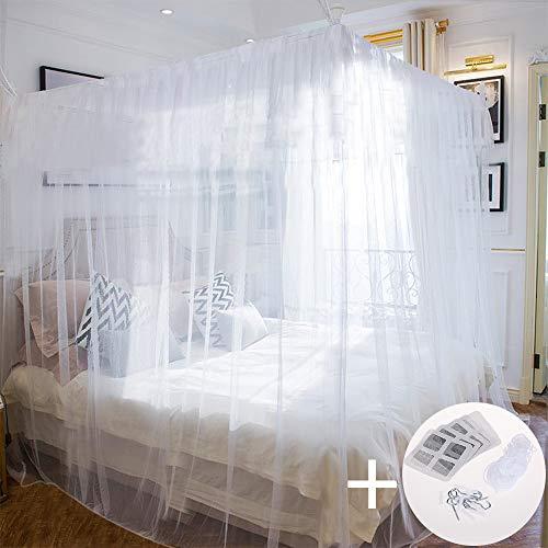 Faburo Moskitonetz Mückennetz für Doppelbetten 220×200×200cm Tragbar für Reise Zuhause mit Schraubhaken Aufhängeschnur -