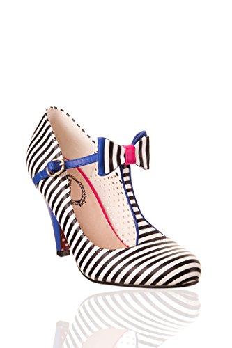 Banned MARILYN 50s NAUTICAL Sailor T-Strap Striped High HEELS Rockabilly Weiß-Schwarz gestreift