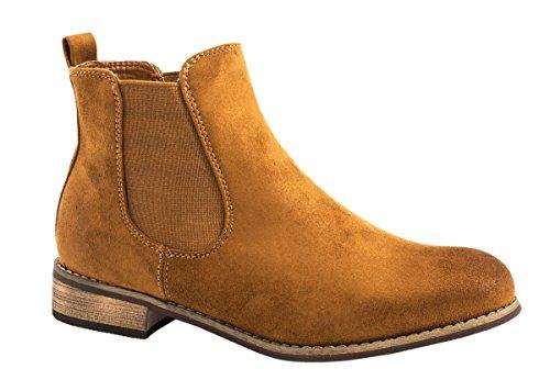 Elara Damen Chelsea Boots   Bequeme Flache Stiefel   Lederoptik Stiefeletten ZY9063-Camel-38 (Camel Damen Stiefel Flache)