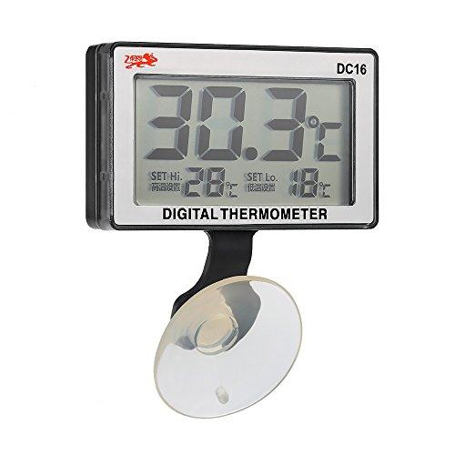 Walmeck LCD Digitales Aquarium Thermometer 0°C bis +50°C mit Saugnapf - 0 Lcd