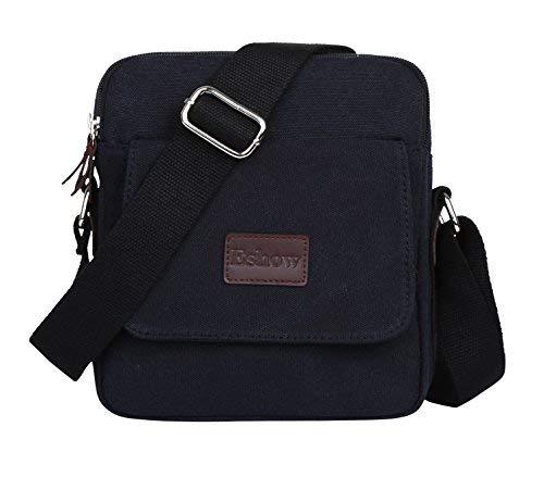 Canvas Ein-schulter-umhängetasche (Eshow Herren Canvas Freizeit Täglich Umhängetasche Schultertasche Taschen (schwarz))