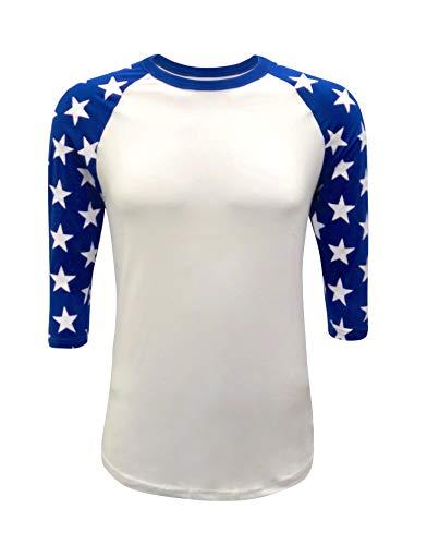 Star Sleeves Raglan 3/4 T-Shirt Baseball-Stil Patriot Team (Erwachsene und Jugendliche) - Mehrfarbig - 3X-Groß