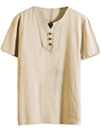 4406a7f016b8d Juqilu Camisa Hombre Lino Blusa Suelta Casual Transpirable Top de Manga  Corta Camisas Sin Cuello de