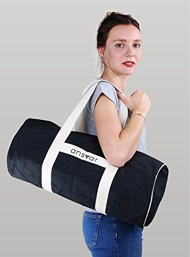 Sporttasche ansvar III aus Bio Baumwoll Canvas - Hochwertige Damen & Herren Sporttasche, Duffle Bag aus 100% nachhaltigen Materialien - mit GOTS & Fairtrade Zertifizierung, Farbe:anthrazit - 3